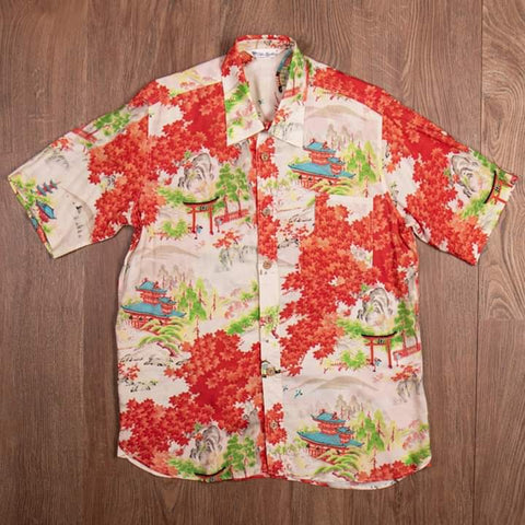 Camisa Hawaiana 1937 Roamer Shirt Short sleeve Miyamato orange Pike Brothers
