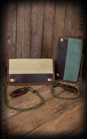 Canvas Leather Wallet - olive or beige Rumble 59
