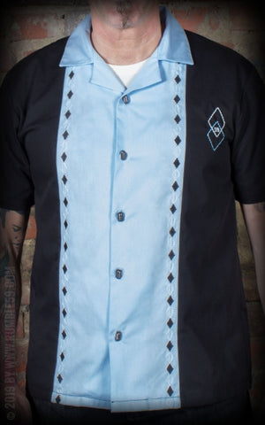 Camisa de salón Rocking Diamonds azul claro Rumble 59