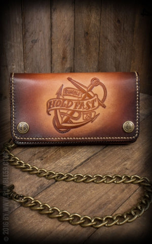 "Leather Wallet ""Anchor"" - sunburst handmade Rumble 59"