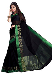 Black & Green Color Sambhalpuri Cotton Silk Party Wear Sarees : Ruvani Collection  YF-32748