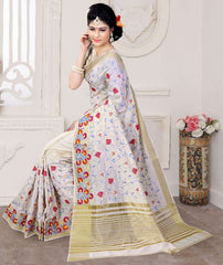 Off White Color Art Silk Casual Party Sarees : Pushpi Collection  YF-54475