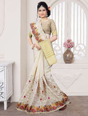 Off White Color Art Silk Casual Party Sarees : Pushpi Collection  YF-54476