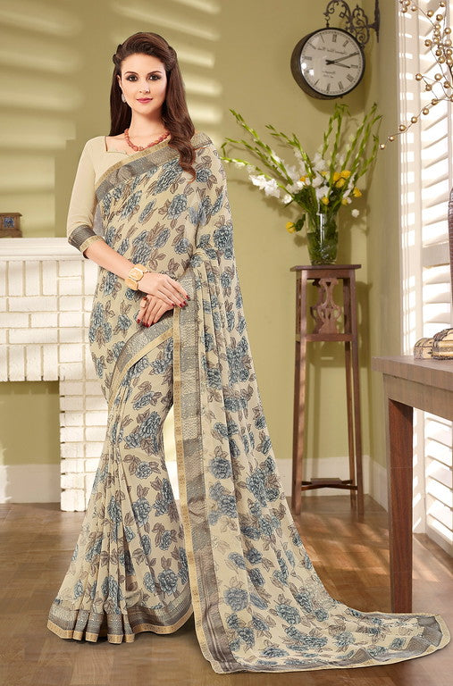 Cream Color Georgette Casual Wear Saree- Preksha Collection  YF#10488