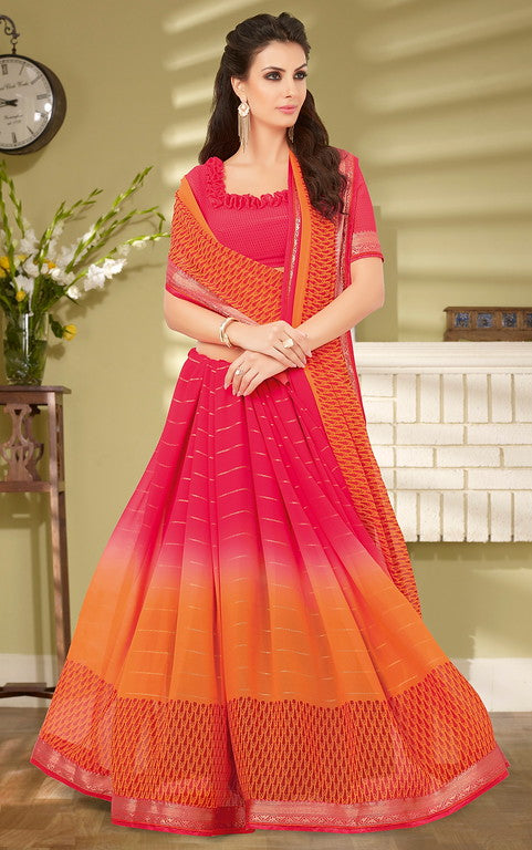 Pink and Orange Color Georgette Casual Wear Saree- Preksha Collection  YF#10490