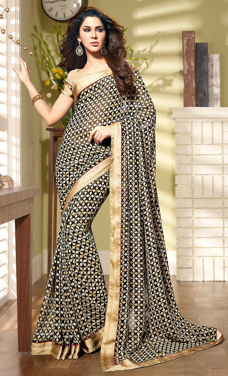Black and Beige Color Georgette Casual Wear Saree- Preksha Collection  YF#10493