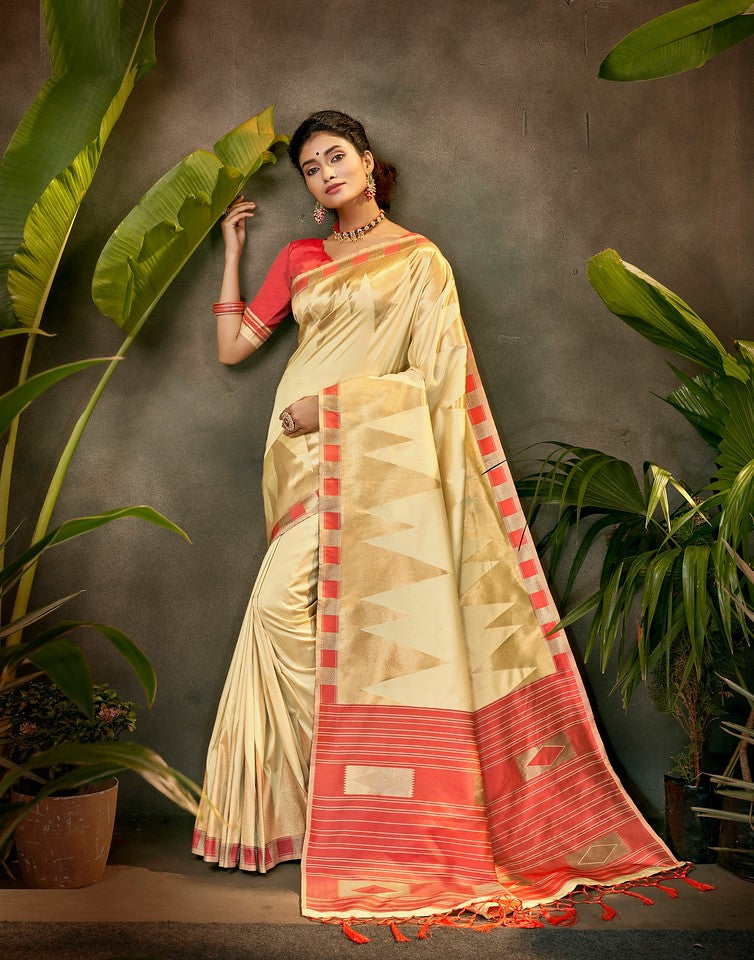 Cream and Red Color Art SilkTraditional Wear Saree Ayna Collection YF#11762