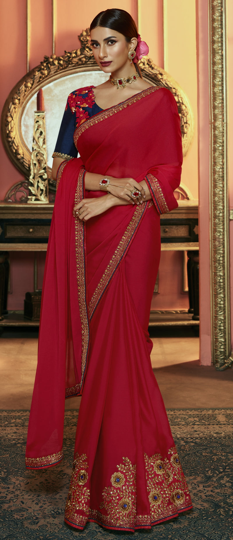 Red Color Crepe Silk Dazzling Festive Sarees NYF-6060