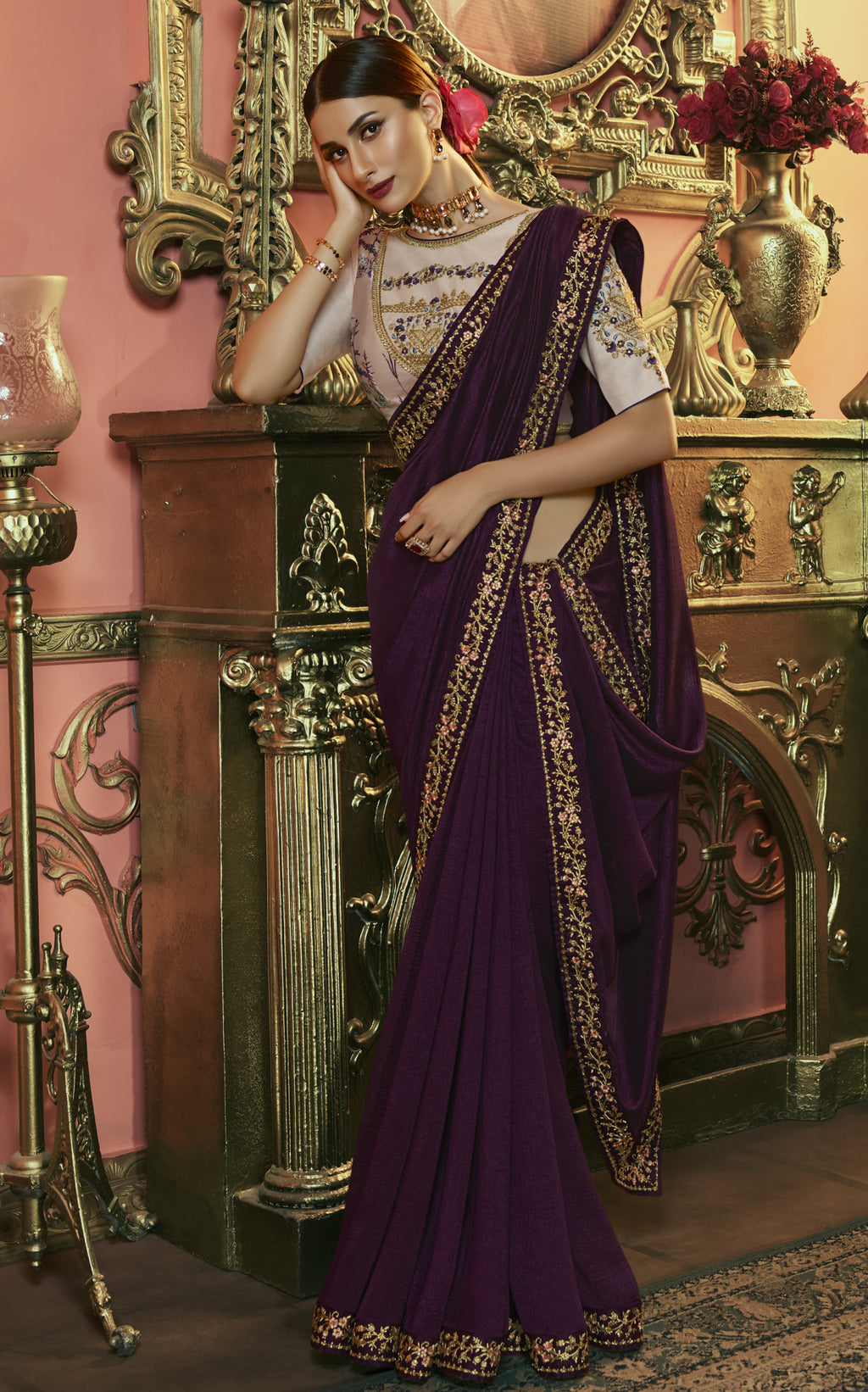 Purple Color Crepe Silk Dazzling Festive Sarees NYF-6062