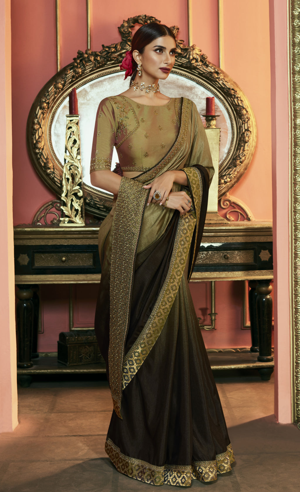 Olive Green & Brown Color Crepe Silk Dazzling Festive Sarees NYF-6064