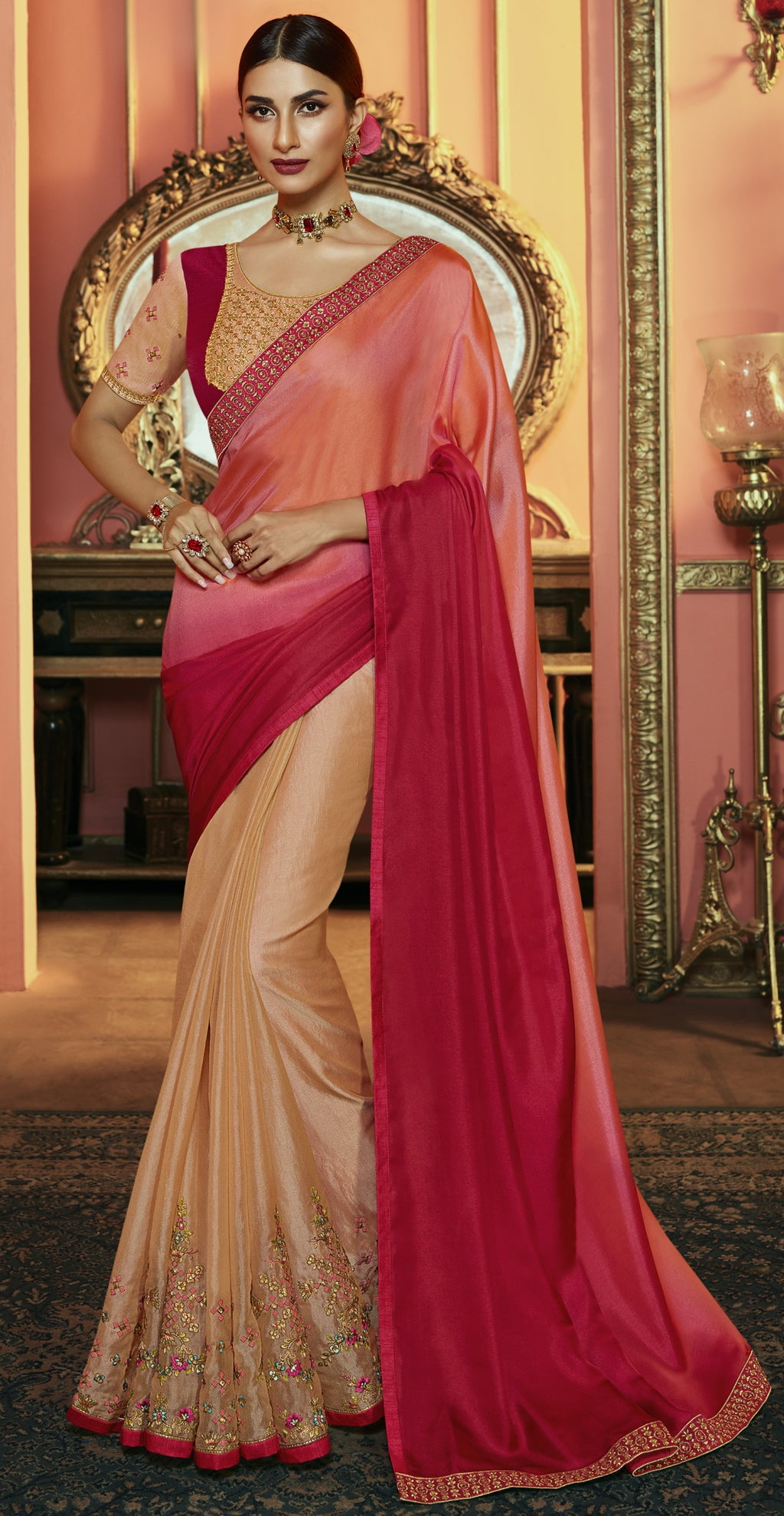 Pink & Peach Color Crepe Silk Dazzling Festive Sarees NYF-6065