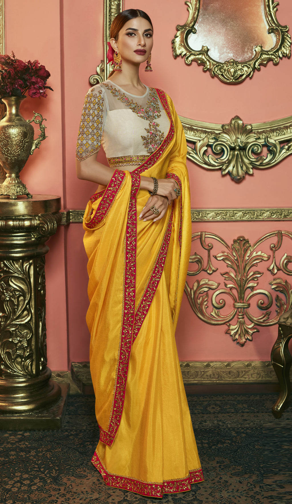 Yellow Color Crepe Silk Dazzling Festive Sarees NYF-6067