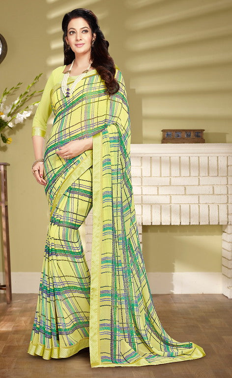 Yellow Color Georgette Casual Wear Saree- Preksha Collection  YF#10498