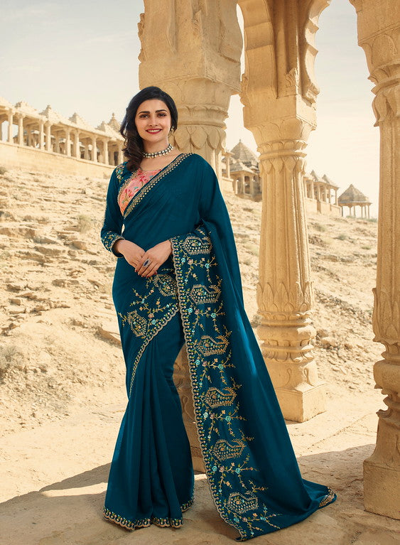 Ramablue Color Dupian Silk Festive Wear Sarees -  Rabhya Collection  YF#10847