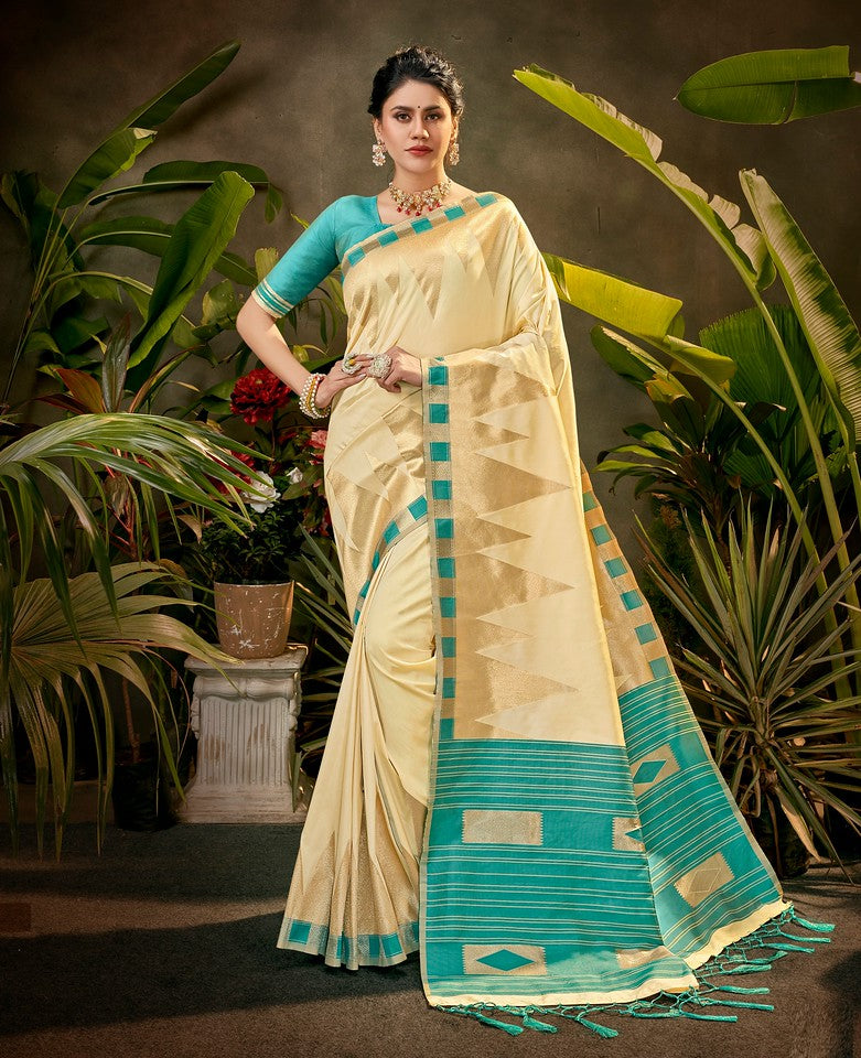 Cream and Blue Color Art SilkTraditional Wear Saree Ayna Collection YF#11763