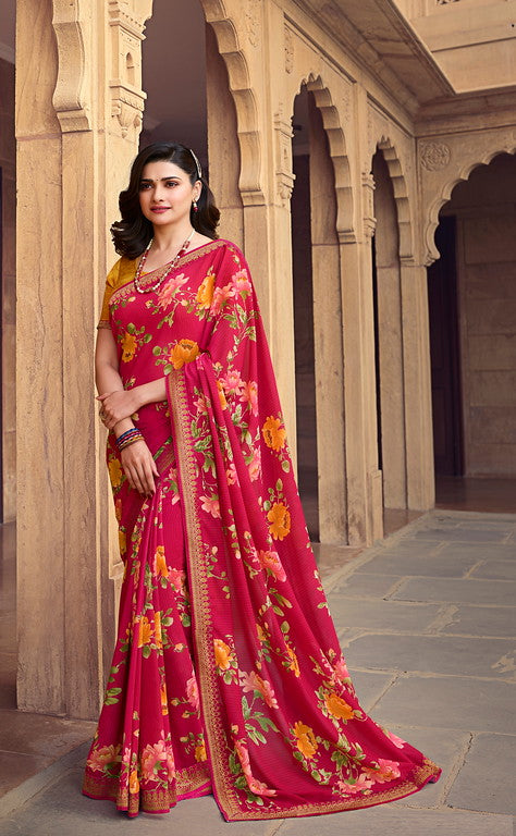 Pink and YellowColor Georgette Casual Wear Saree -  Nidra Collection  YF#10857