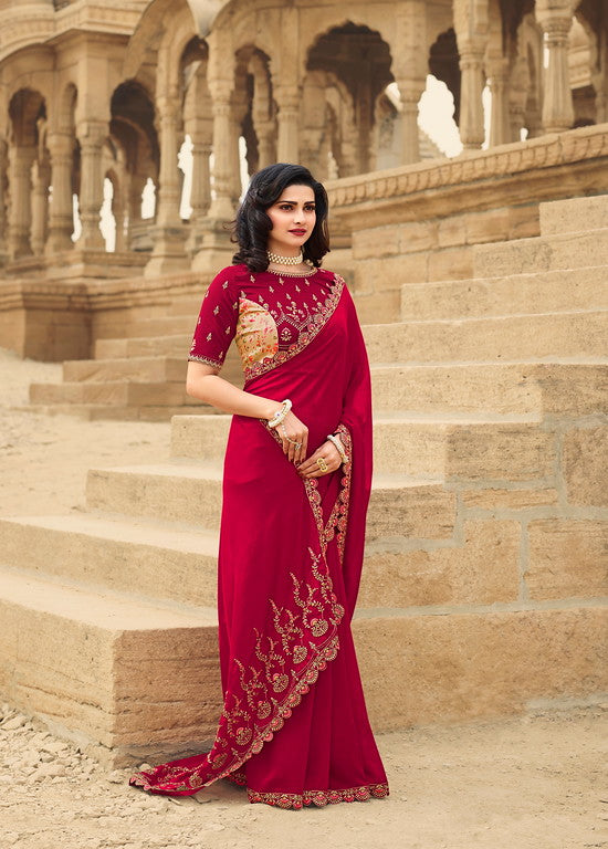 Rani Pink Color Dupian Silk Festive Wear Sarees -  Rabhya Collection  YF#10848