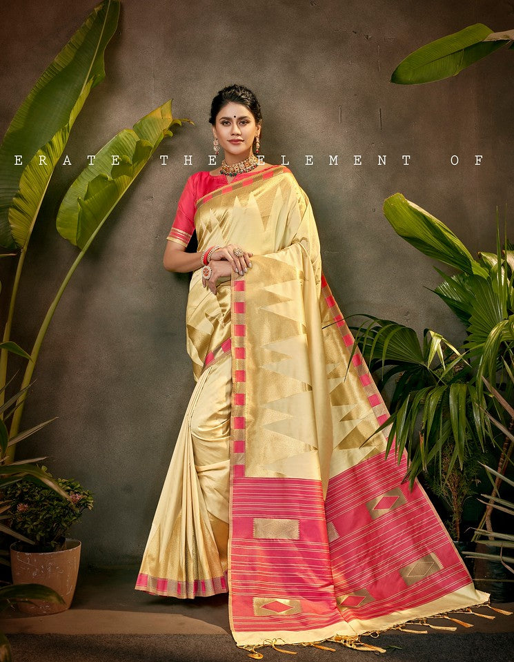 Cream and Pink Color Art SilkTraditional Wear Saree Ayna Collection YF#11764