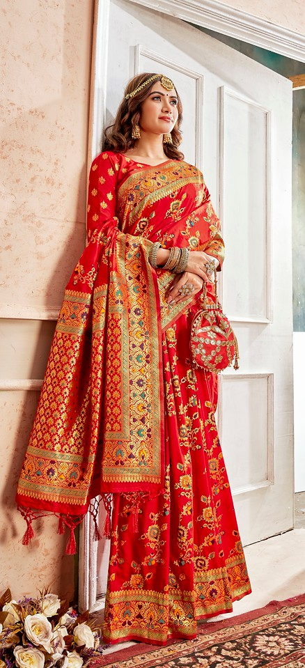 Red Color Art SilkTraditional Wear Saree Nahita Collection YF#11749