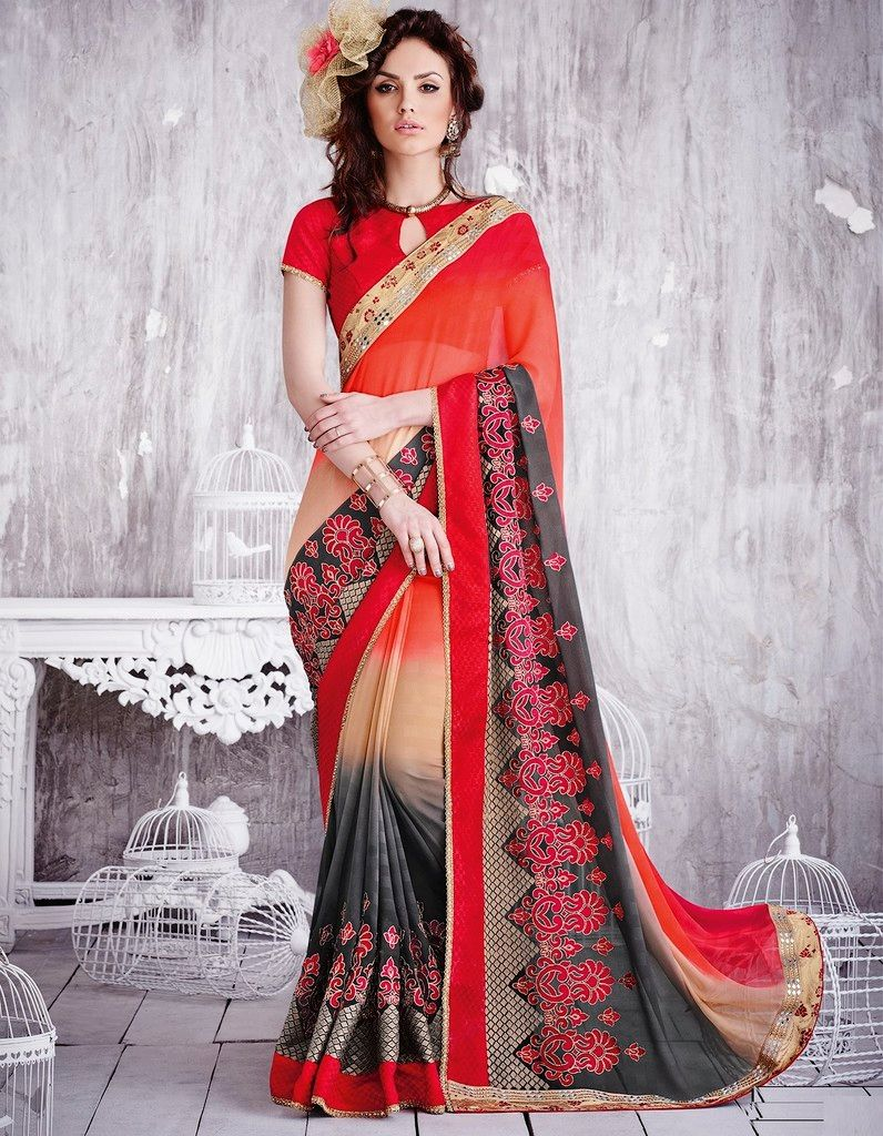 Red & Cream Color Chiffon Designer Festive Sarees : Karini Collection  NYF-1244 - YellowFashion.in