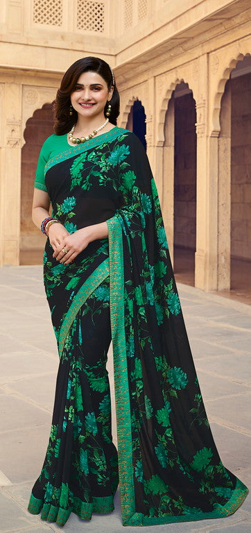 Black and Green Color Georgette Casual Wear Saree -  Nidra Collection  YF#10858