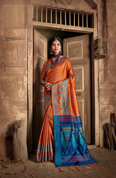 Orange and Blue Color Art Silk Ethnic Wear Saree -  Aashna Collection  YF#11605