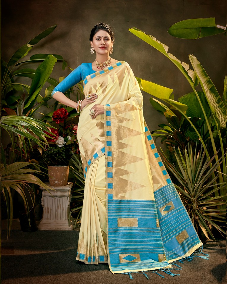 Cream and Blue Color Art SilkTraditional Wear Saree Ayna Collection YF#11765