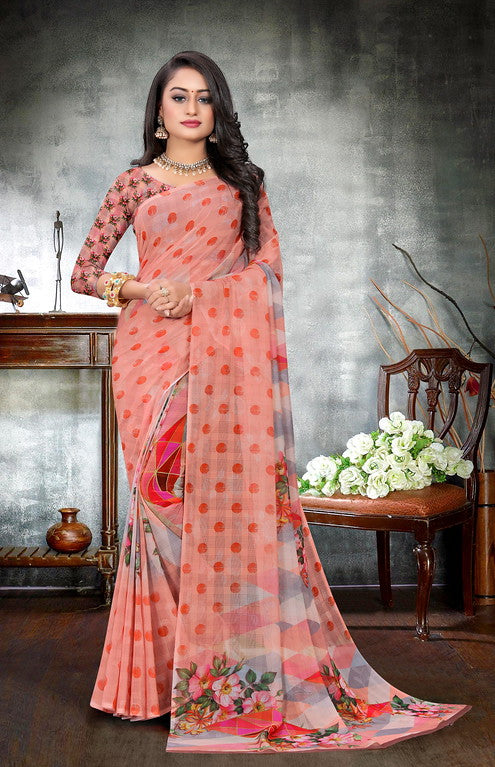 Peach and Orange Color Georgette Checks Digital Kitty Party Saree -  Drishya Collection YF#10371