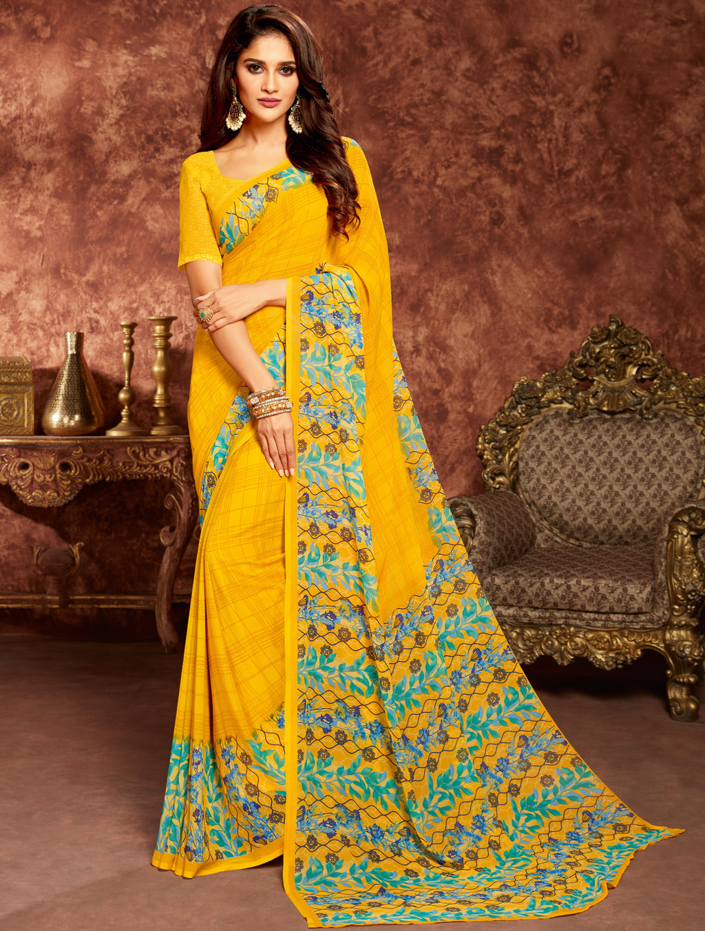 Yellow Color Georgette Beautiful Office Wear Sarees NYF-6266