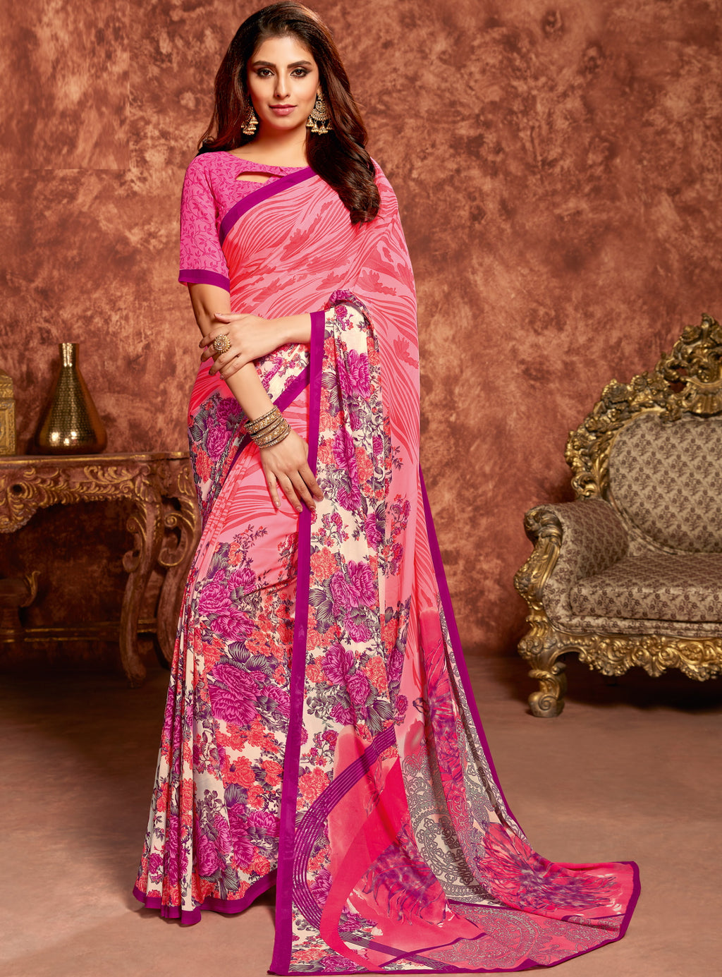 Pink Color Georgette Beautiful Office Wear Sarees NYF-6267
