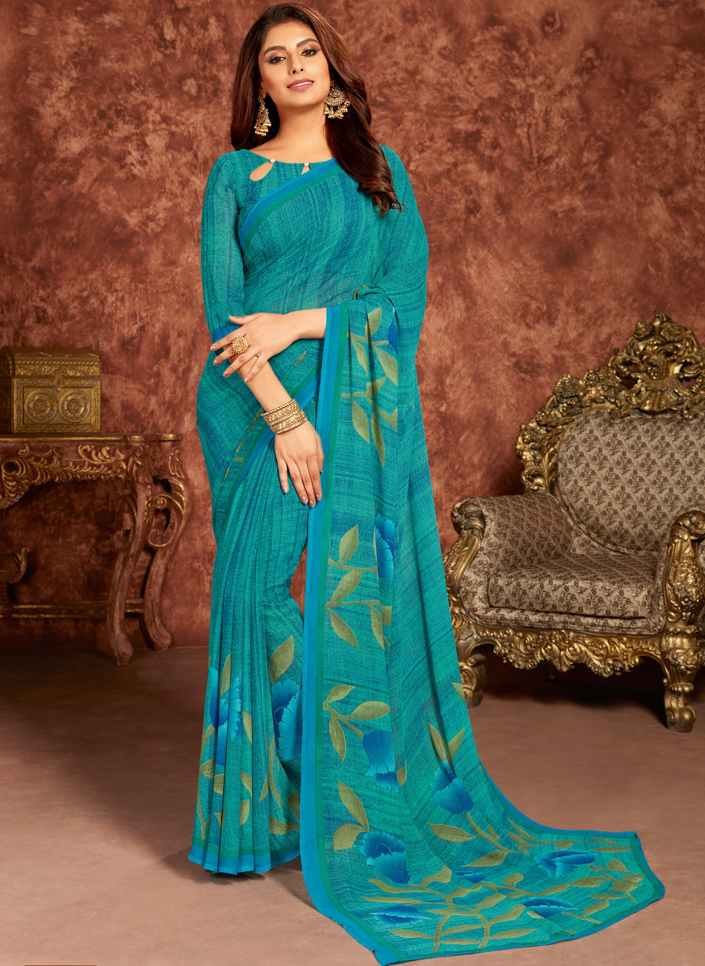Sea Green & Blue Color Georgette Beautiful Office Wear Sarees NYF-6268