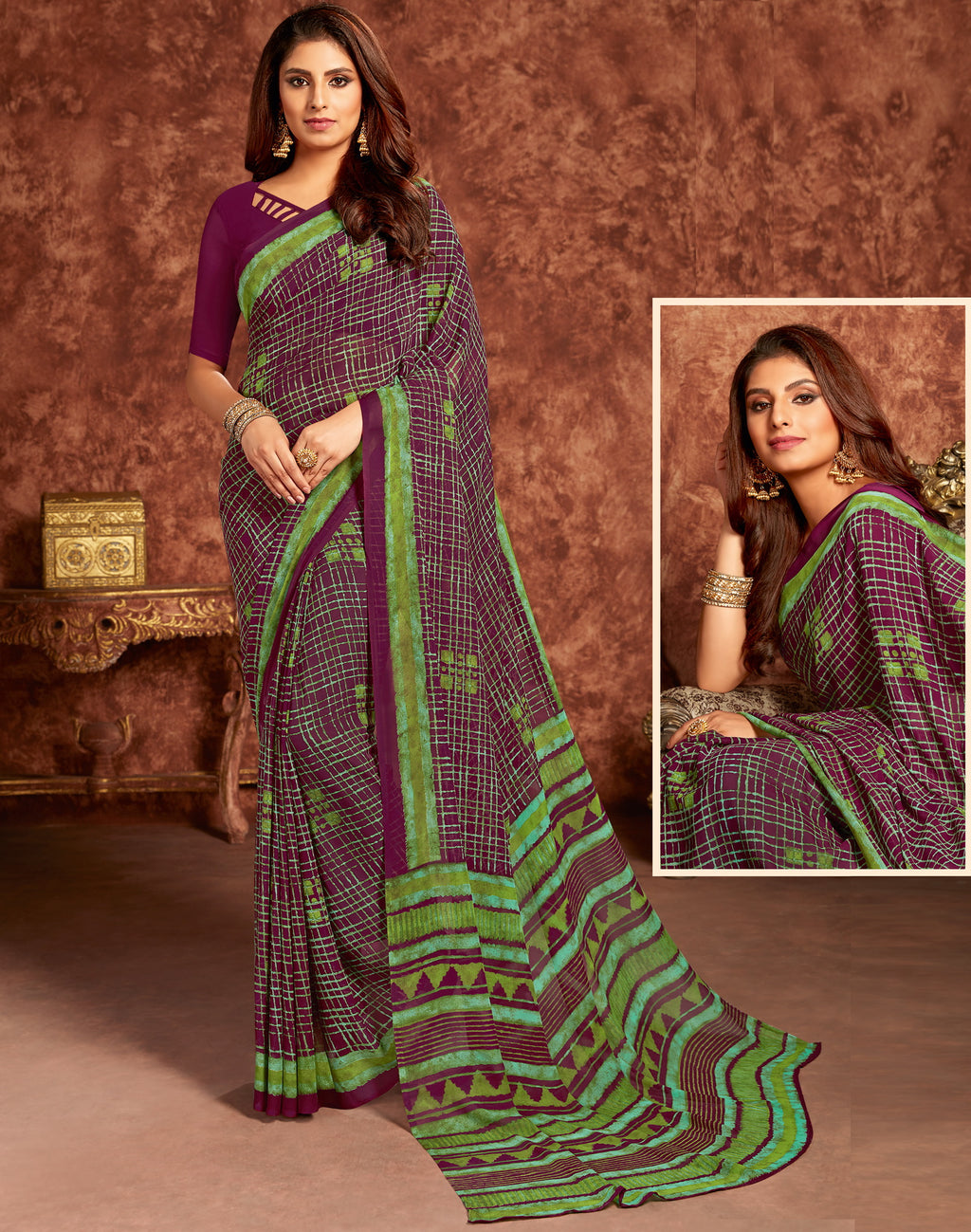 Purple Color Georgette Beautiful Office Wear Sarees NYF-6269