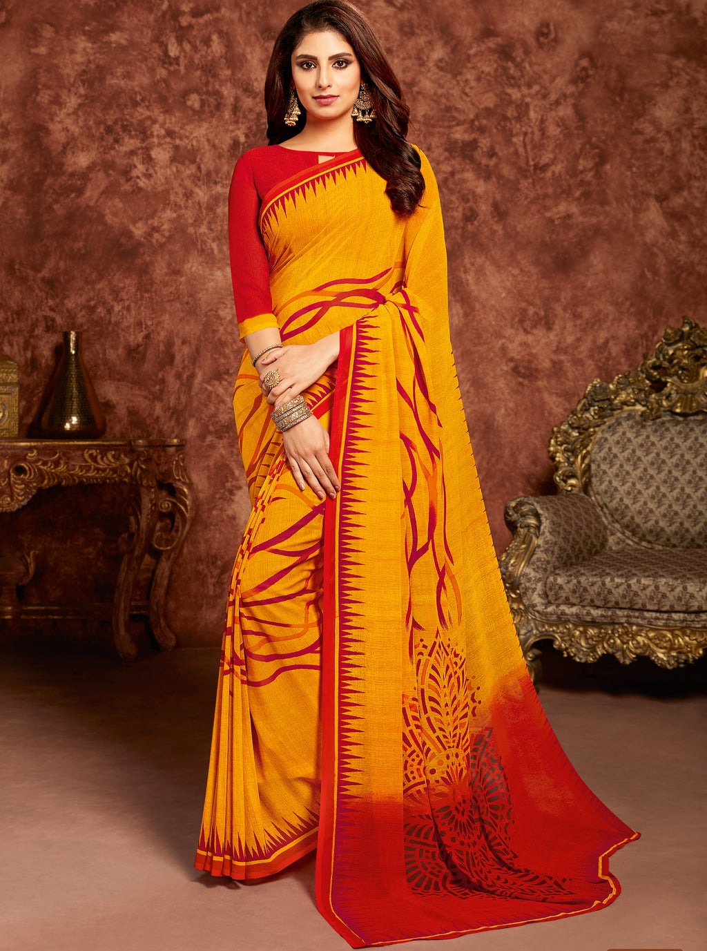 Yellow Color Georgette Beautiful Office Wear Sarees NYF-6271