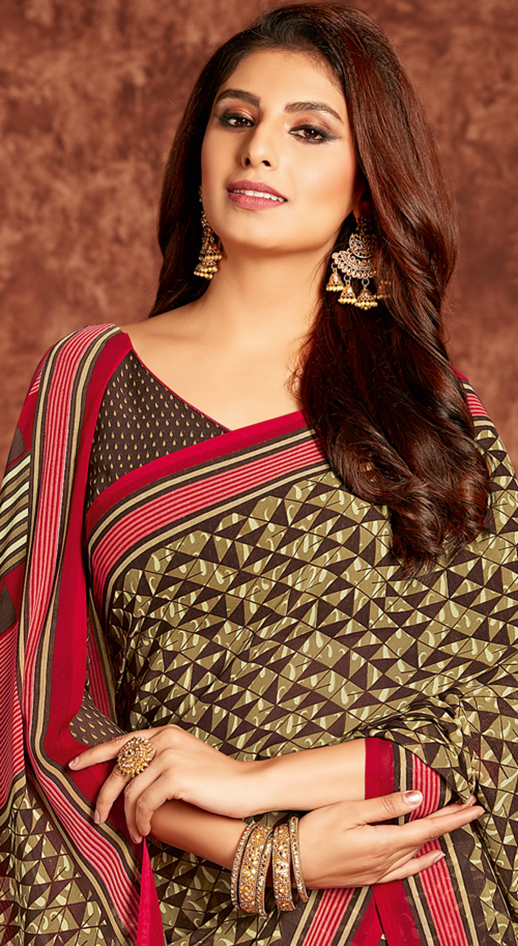Brown Color Georgette Beautiful Office Wear Sarees NYF-6272