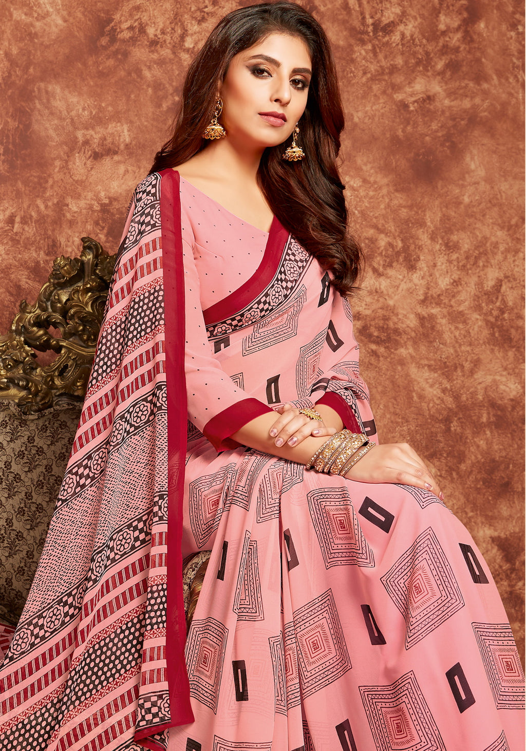 Pink Color Georgette Beautiful Office Wear Sarees NYF-6274