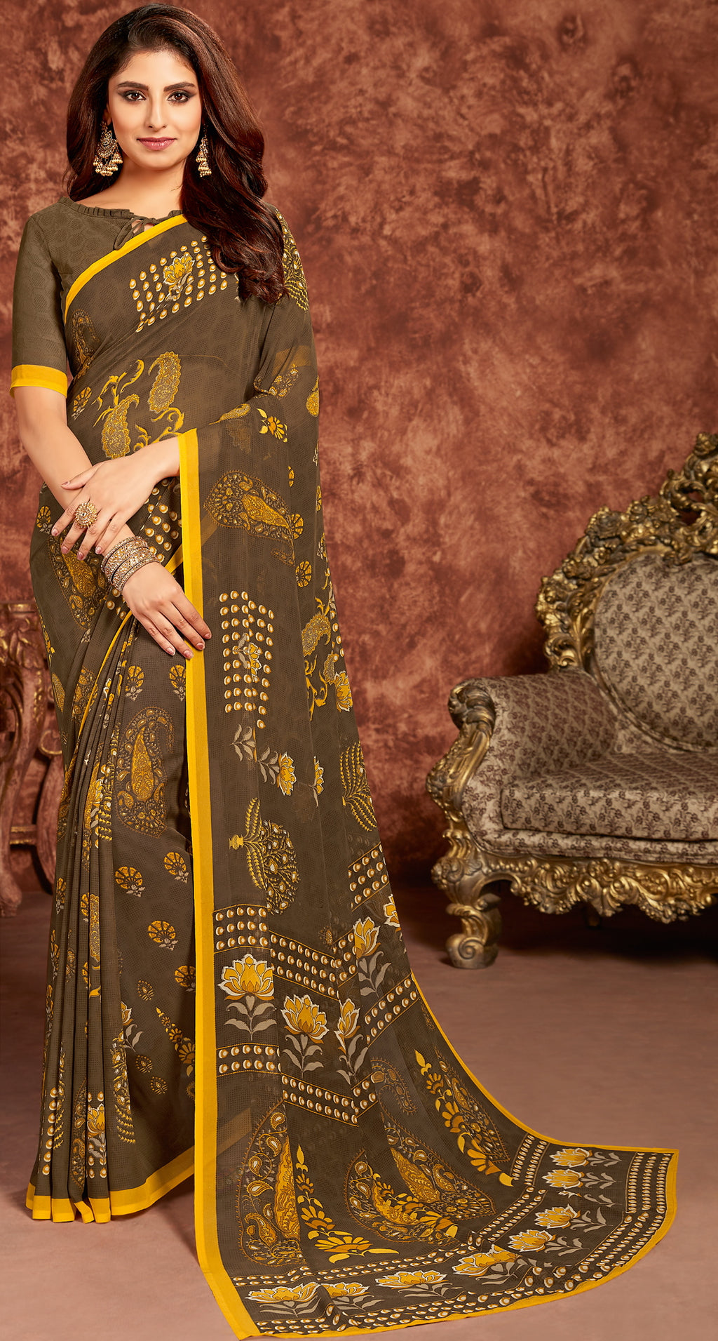 Brown Color Georgette Beautiful Office Wear Sarees NYF-6275
