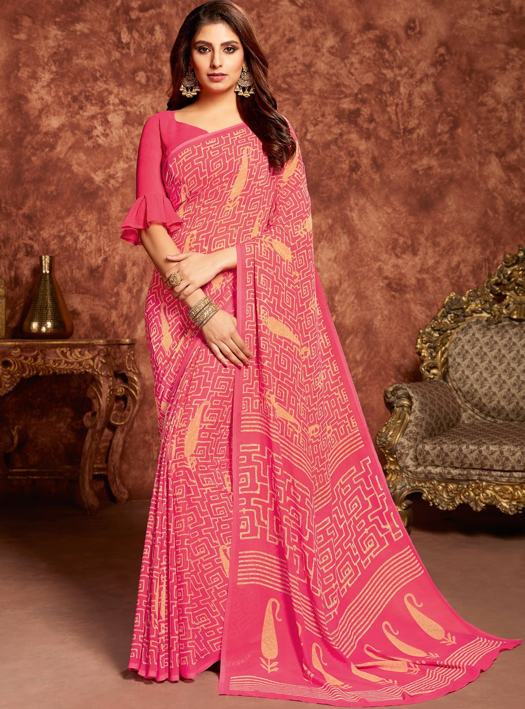 Pink Color Georgette Beautiful Office Wear Sarees NYF-6276
