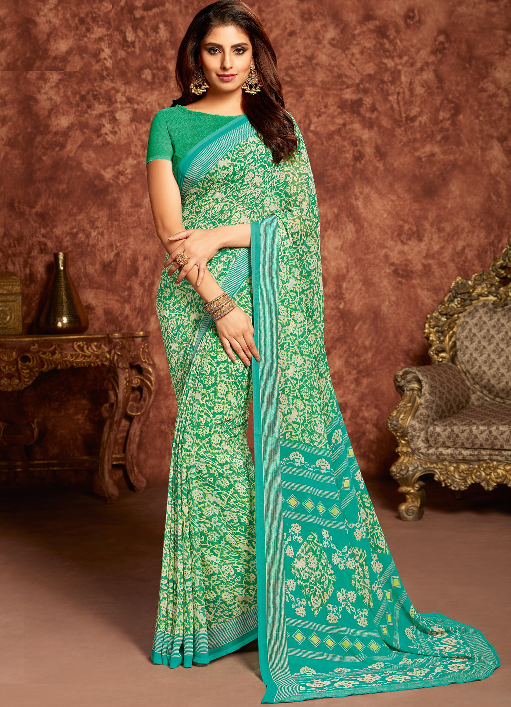 White & Green Color Georgette Beautiful Office Wear Sarees NYF-6277