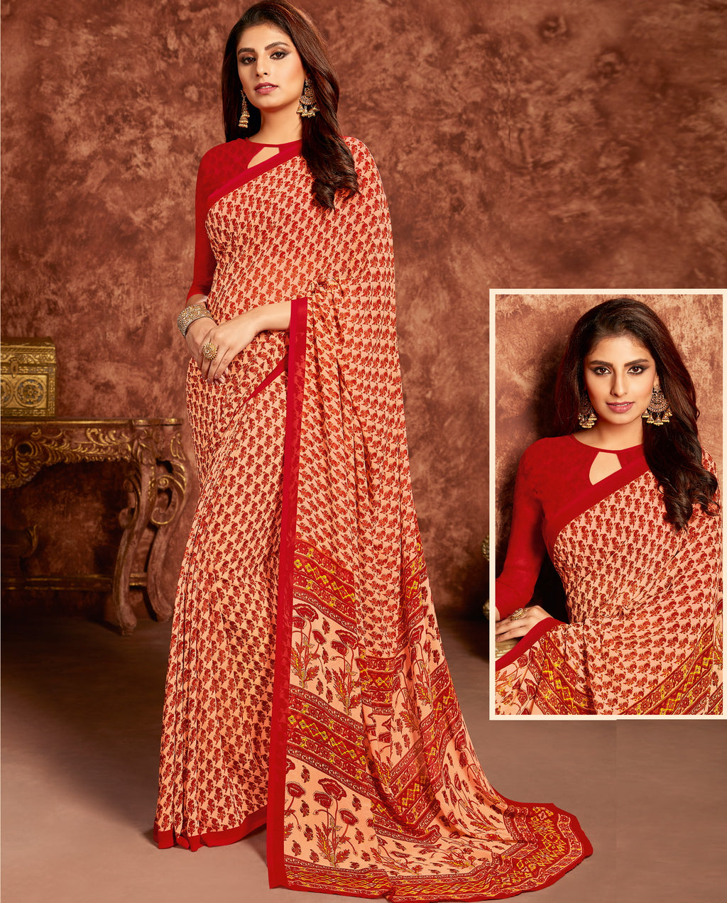 Red Color Georgette Beautiful Office Wear Sarees NYF-6278