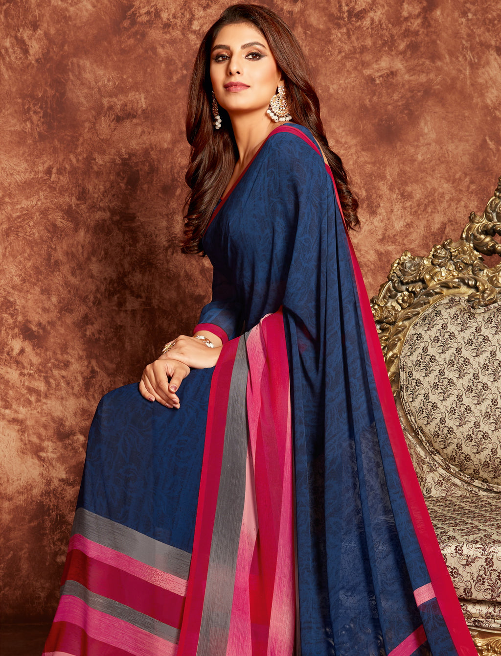 Blue Color Georgette Beautiful Office Wear Sarees NYF-6279