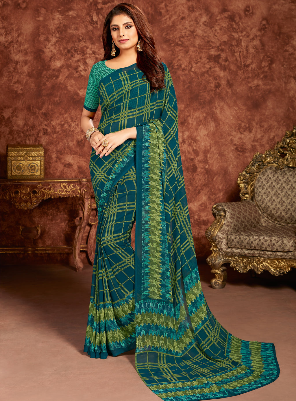 Blue & Green Color Georgette Beautiful Office Wear Sarees NYF-6281