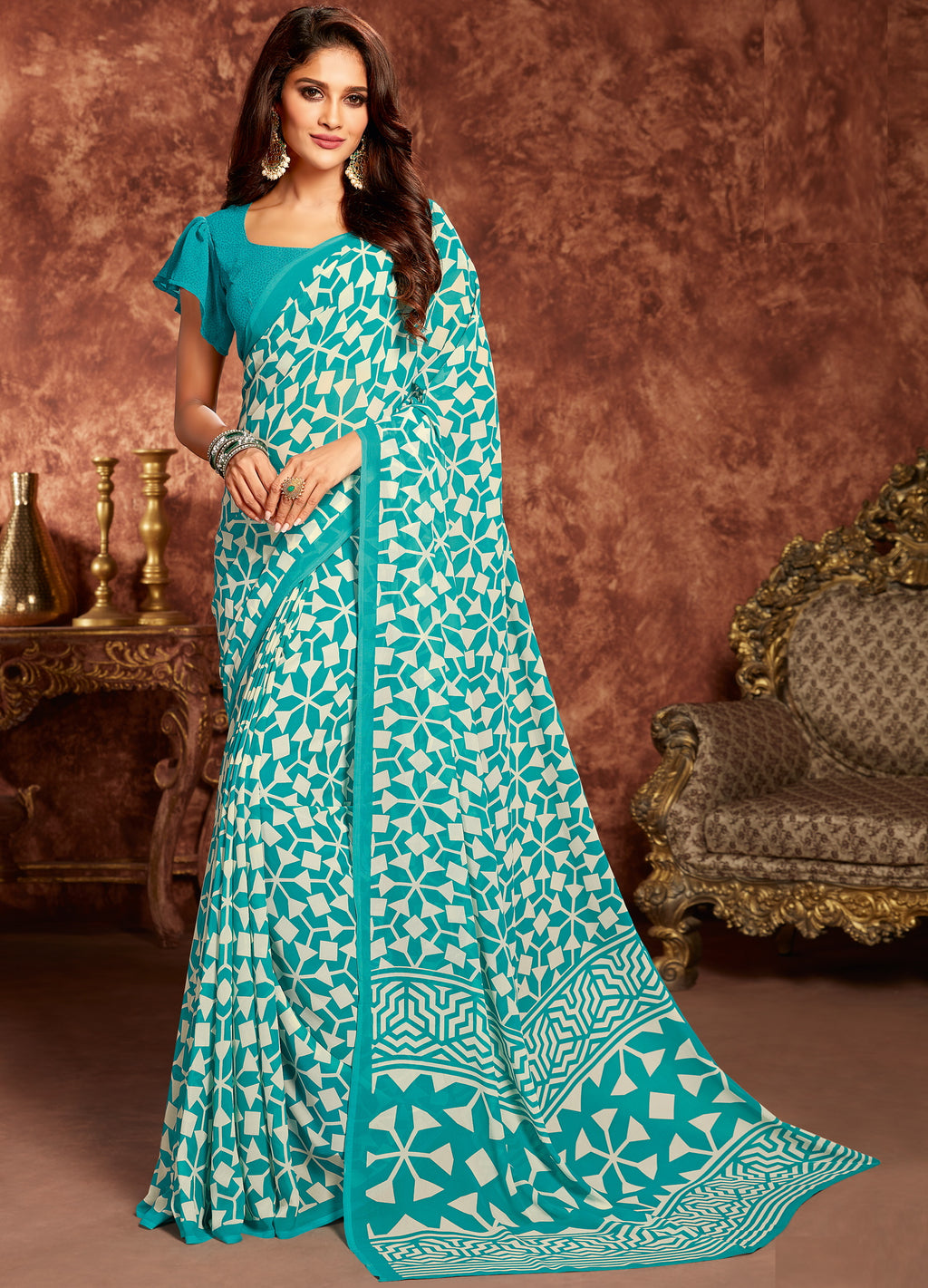 Aqua Blue Color Georgette Beautiful Office Wear Sarees NYF-6283