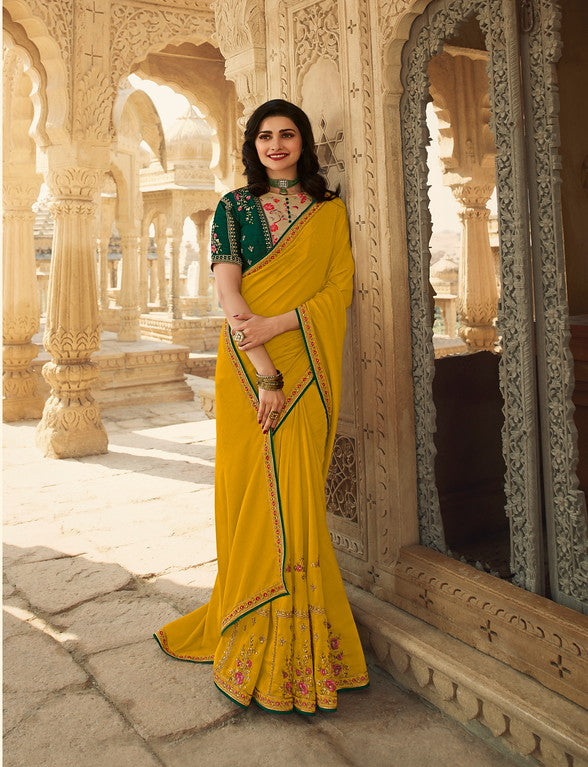 Yellow Color Dupian Silk Festive Wear Sarees -  Rabhya Collection  YF#10850