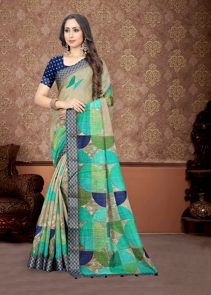 Multi Color Linen Digital Kitty Party Saree-Atreyi Collection YF#10361