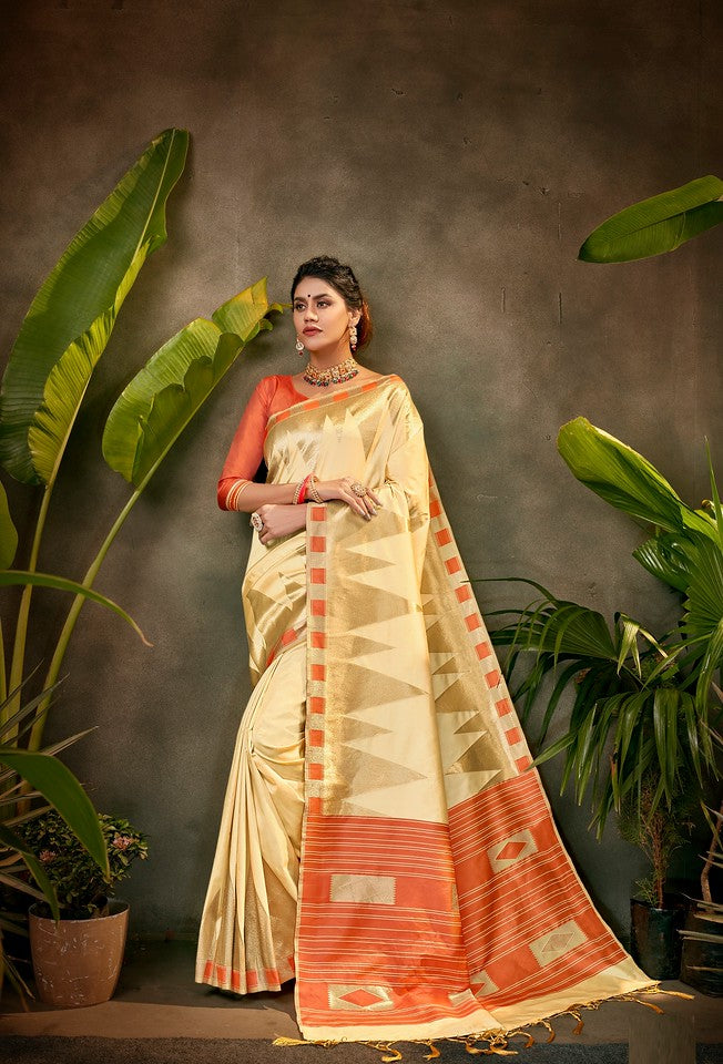 Cream and Tomato Red Color Art SilkTraditional Wear Saree Ayna Collection YF#11766