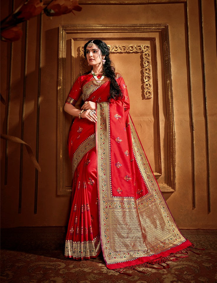 Red Color Art Silk Traditional Wear Saree Nikhita collectionYF#11727