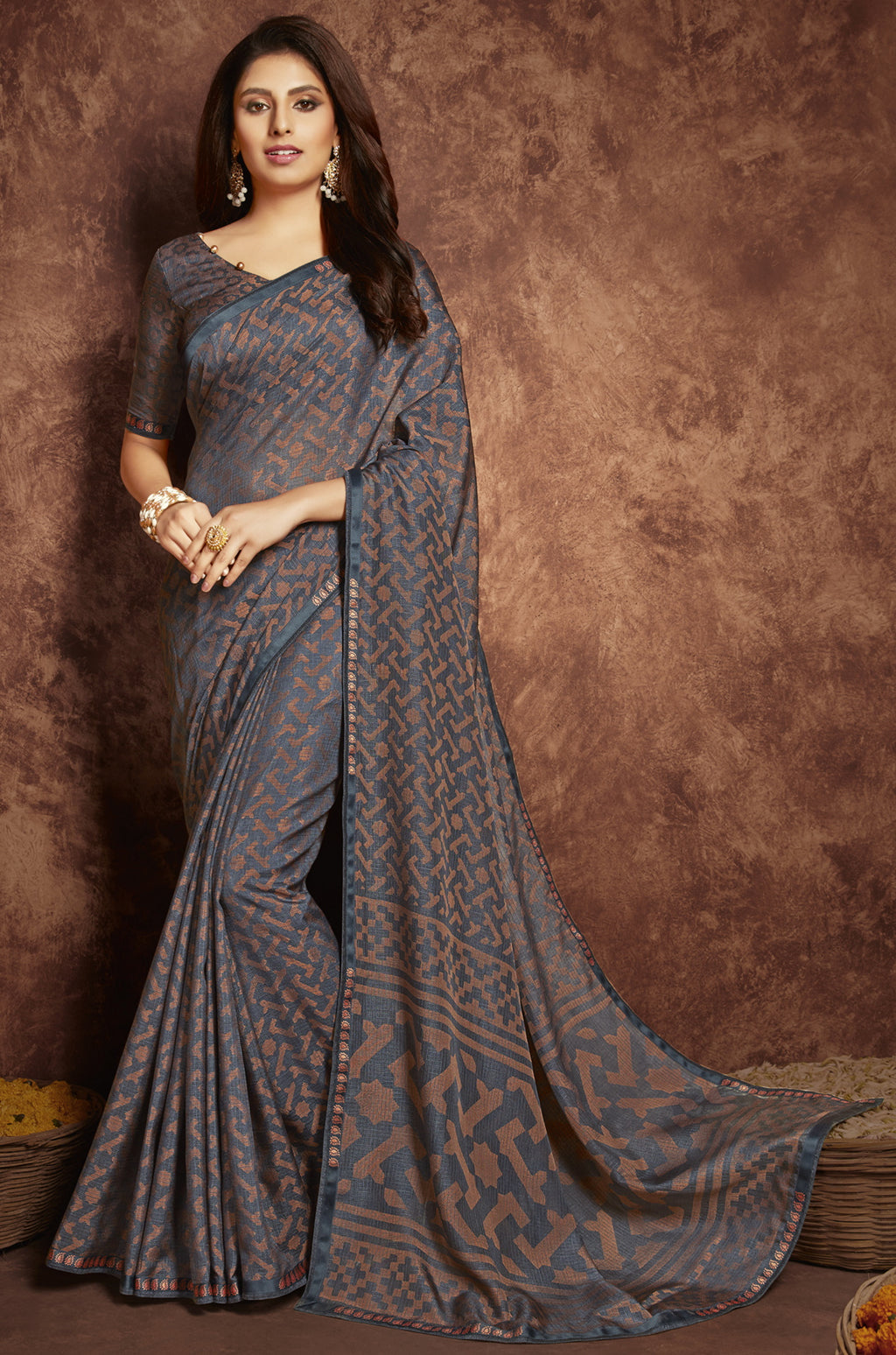 Grey Color Chiffon Casual Kitty Party Sarees NYF-6260