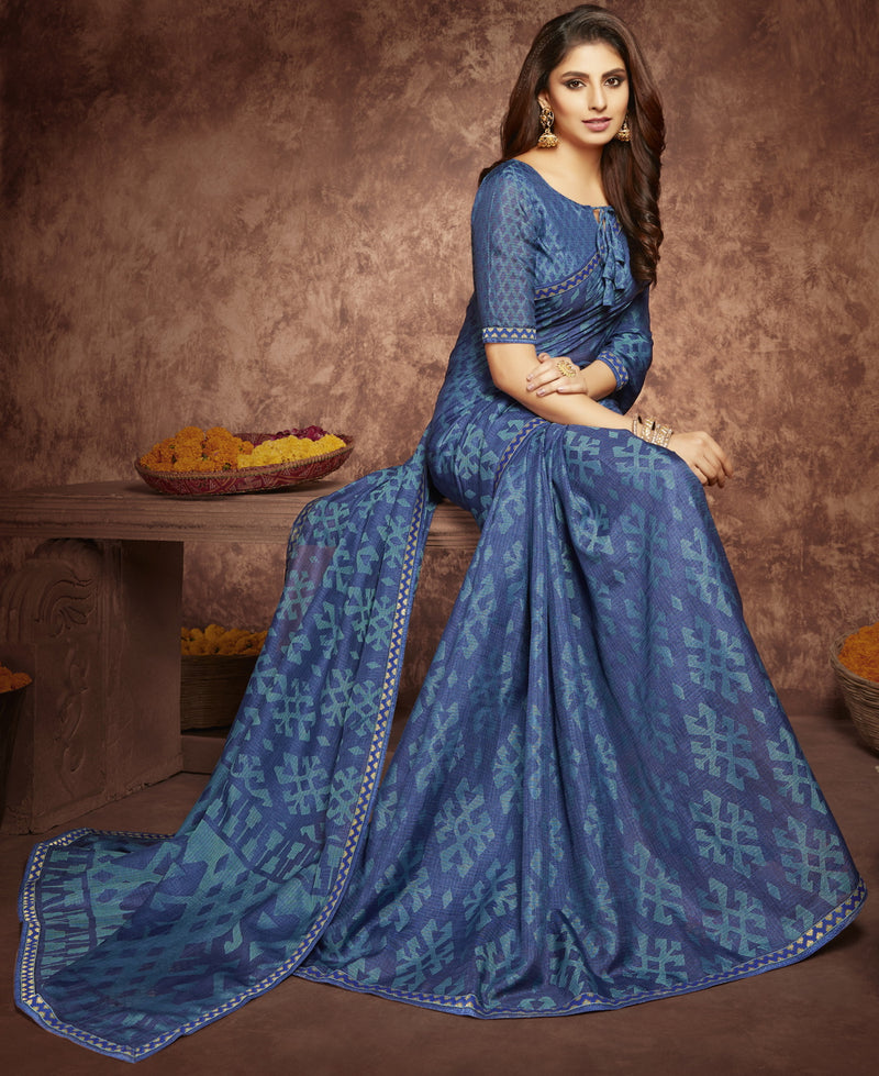 Blue Color Chiffon Casual Kitty Party Sarees NYF-6261