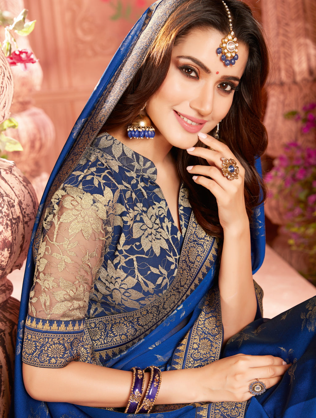 Blue Color Georgette Radiant Kitty Party Sarees NYF-6540