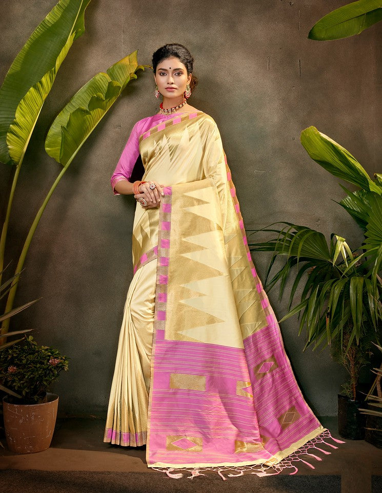 Cream and Purple Color Art SilkTraditional Wear Saree Ayna Collection YF#11767